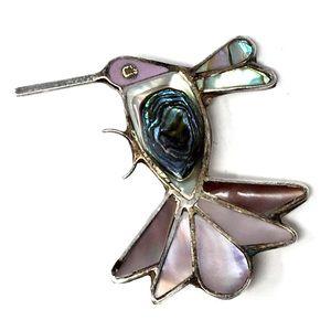 Vintage Sterling Hummingbird Brooch